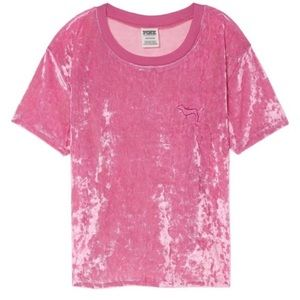 VS Pink Luxe Velvet Crop Top - Size M